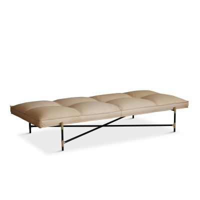 Handvärk Daybed, Brass Details Vegetal Aniline Leather