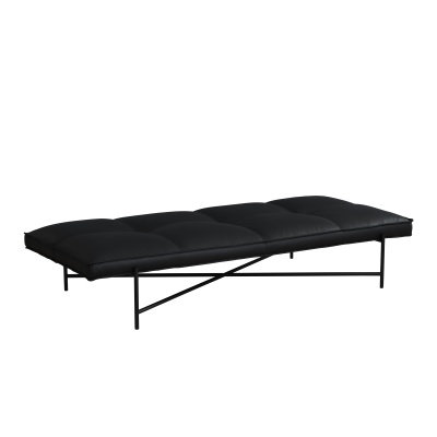 Handvärk Daybed Black Aniline Leather