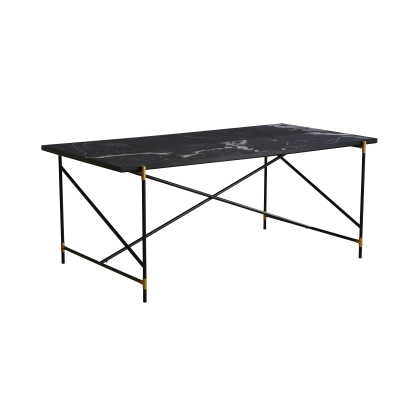 Handvärk Dining Table, Brass Details Grey Marble, 185 cm