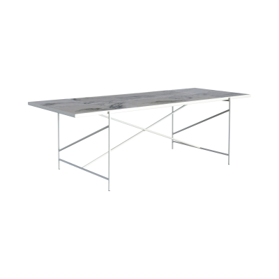 Handvärk Dining Table Grey Marble, Black Base, 230 cm