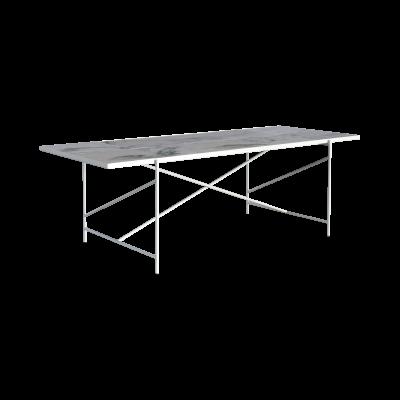 Handvärk Dining Table Grey Marble, Black Base, 230 cm