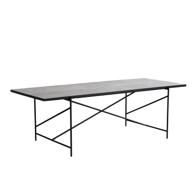 Handvärk Dining Table White Marble, Black Base, 230 cm