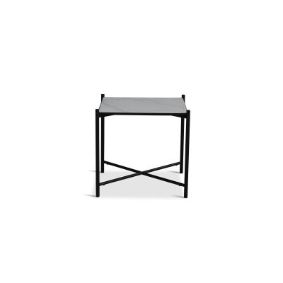 Handvärk Side Table Grey Marble, Black Base