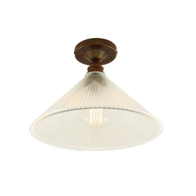 Hanoi Holophane Flush Ceiling Light Antique Brass