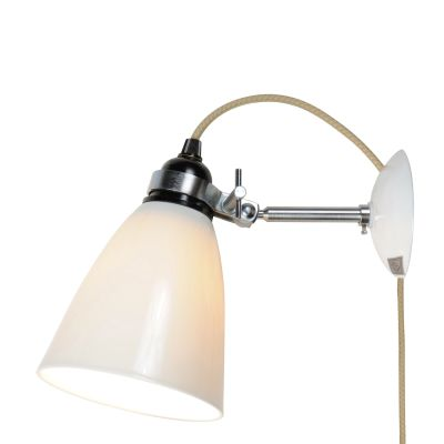 Hector Dome Wall Light Natural White, Plug, Switch and Cable, Medium