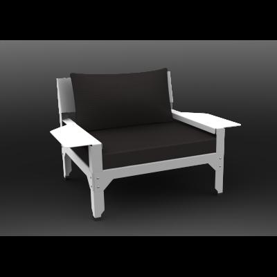 Hegoa Armchair Black Fabric, White - 01 RAL 9016