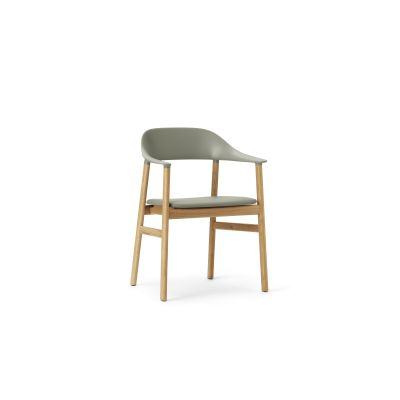 Herit Dining Chair with Armrests and Upholstered Seat Spectrum Leather Dusty Green, Oak