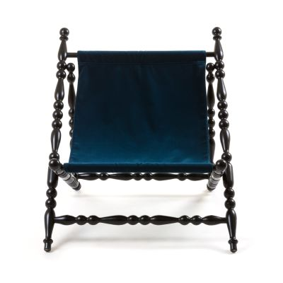 Heritage Foldable Deckchair Black base, Blue