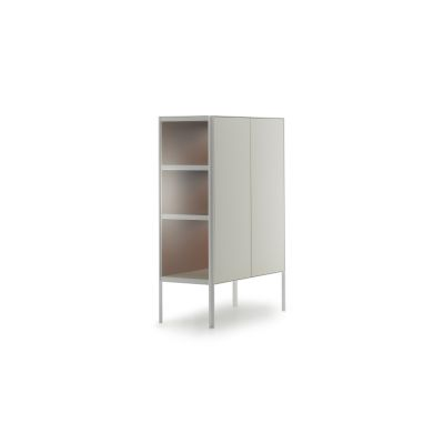 Heron Drawer High Unit, 2 Doors Medium Grey  Structure & Transparent Glass Side Panel, Petrol Blue