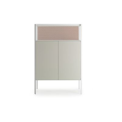 Heron Drawer High Unit, 2 Doors, Open Comparment Ivory White Structure & Ivory White Side Panel, Medium Grey