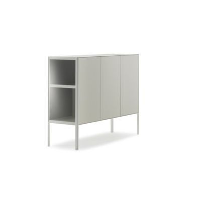 Heron Drawer Medium Unit, 3 Doors Ivory White Structure & Ivory White Side Panel, Ivory White