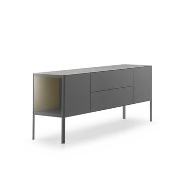 Heron Low Unit, 2 Doors, Double Drawer Medium Grey  Structure & Transparent Glass Side Panel, Petrol Blue