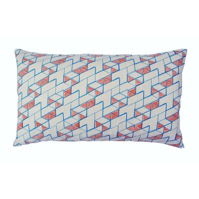 Hex Long Cushion Orange and Blue