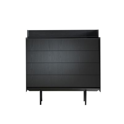 Highboard 120 Cabinet Blackolive with Drawers, With Top