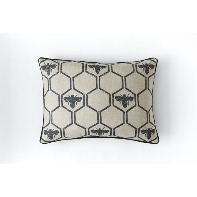 Honey Bees Cushion  Charcoal