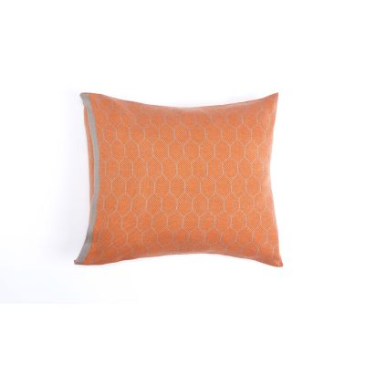 Honeycomb Knitted Cushion Hive Orange & Grey