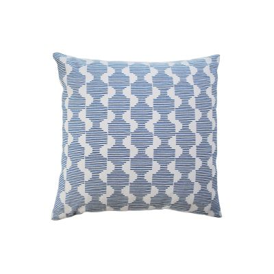 Hoof Square Cushion Dark Blue and Ivory White