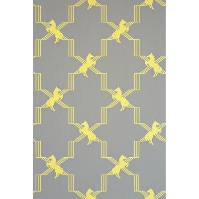 Horse Trellis Wallpaper Acid on Grey