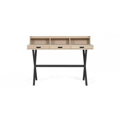 Hyppolite Desk Petrol Blue, Natural Walnut