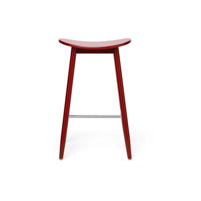 Icha Bar Stool Red Lacquered Beech, 65cm