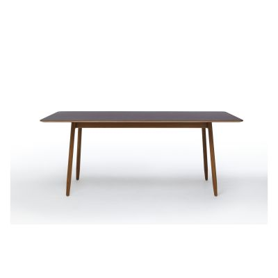 Icha Rectangular Dining Table Burgundy Top & Natural Oak Base, 180cm
