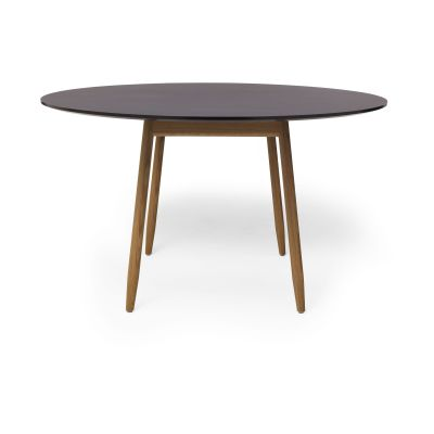 Icha Round Dining Table Burgundy Top & Natural Oak Base