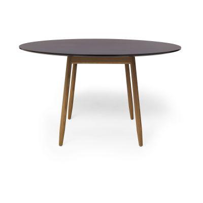Icha Round Dining Table Burgundy Top & Natural Oak Base