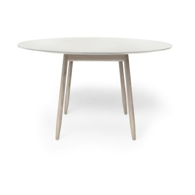 Icha Round Dining Table Mushroom Top & White Oiled Oak Base