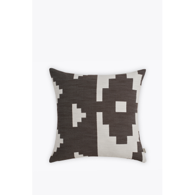 Ikat Square Cushion Woven Dark Brown