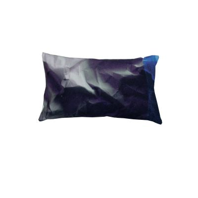 Indigo Crinkled Paper Print Rectangular Cushion