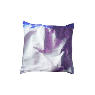 Indigo Crinkled Paper Print Square Cushion Large