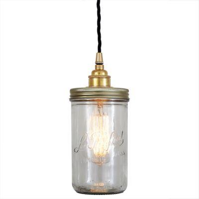 Jam Jar Pendant Light Satin Brass