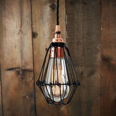 Juba Cage Pendant Light  Polished Copper with Black Cage