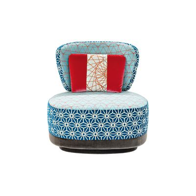 Juju Small Armchair Sushi Collection A4200 - Geo 01 CS Diamond/Flower Red, Fabric Pattern 2A, A4211 - Geo CS Pattern Green/Red, A4248, A4248