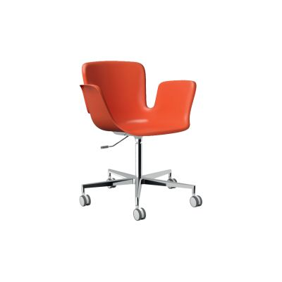 Juli Plastic Swivel Armchair 5-spoke on Castors - Height Adjustable JBI RAL Pure white 9010, 412 Polished Aluminium, 412 Polished Aluminium