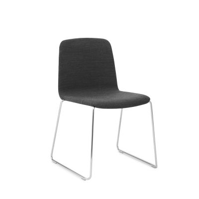 Just Dining Chair Upholstered Sørensen Ultra Leather Black Brown - 41590, NC Black Lacquered Steel