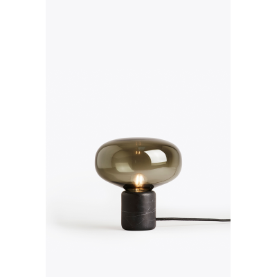 Karl Johan Table Lamp Black Marquina Marble, Smoked Glass