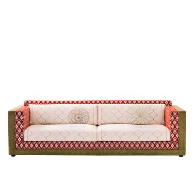 Karmakoma 3 Seater Sofa Sushi Collection 250, A4200 - Geo 01 CS Diamond/Flower Red, Fabric Pattern 2A, A4211 - Geo CS Pattern Green/Red