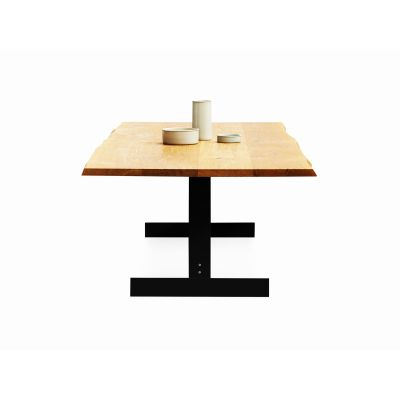 Kazimir Raw Dining Table Powder-Coated Steel, Oiled, Oak, 200, Silk Grey