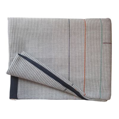 KEPPEL hand embroidered charcoal navy reverse throw
