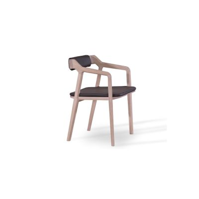 Kundera Armchair with back and seat pad Kenia Leather Denim, Walnut Natural