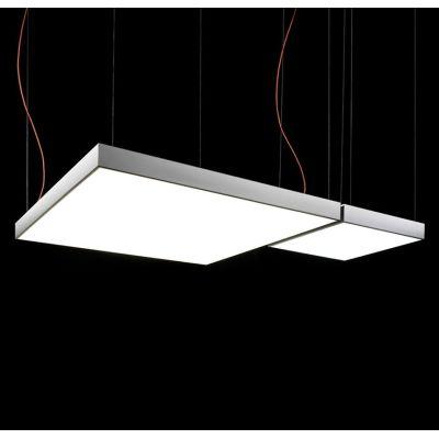 L Flow Square Pendant Light Yes, 120x120, Matte White, Fluorescent