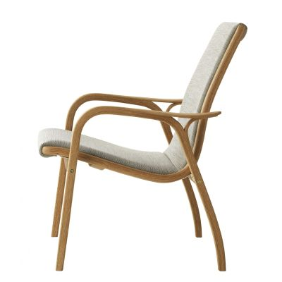 Laminett Easy Chair Walnut Natural Lacquer, Off-white