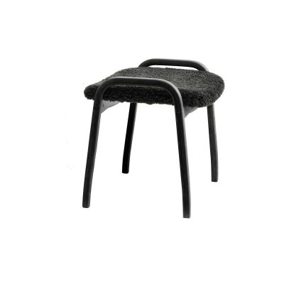 Lamino Stool Walnut Natural Lacquer, Black Coloured Saddle Leather