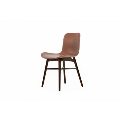 Langue Original Dining Chair, Dark Stained - Leather Black Premium Leather