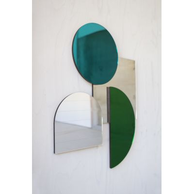Layer Mirrors, Teal Set of four Mirrors, Teal