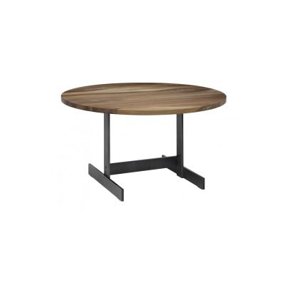 Lazlo Round Side Table Zinc - Plated Steel,Oiled Oak, 50, 52