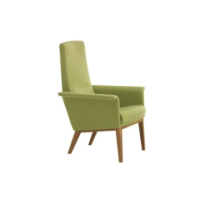 Lazy Easy Chair High Back Beech Natural Lacquer, Main Line Flax Newbury