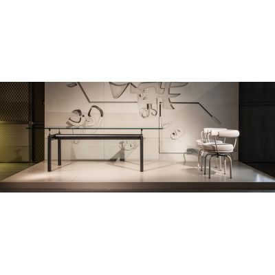 LC6 Dining Table Black Base, Clear Glass Top