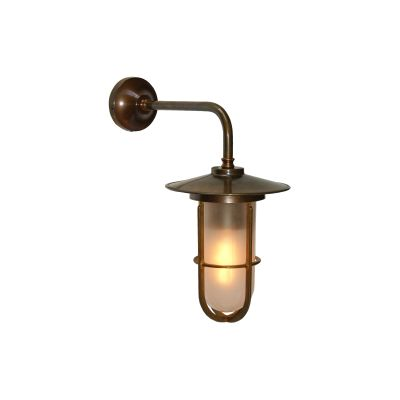 Lena Well Glass Wall Light Satin Brass, Frosted Glass